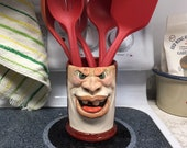 XL UTENSIL HOLDER - Wheel thrown, hand altered and sculpted ceramic utensil holder, vase, pot, urn, tumbler, jar, holder, or planter.