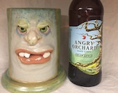 LARGE STEIN - wheel thrown, hand altered and sculpted. Just a friendly face to enjoy your favorite beverages with.