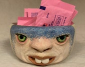BOWL - Really Small ceramic,  wheel thrown, hand altered & sculpted. Just a friendly face to hold rings, paper clips, candy.