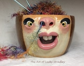 Ready to ship - XLARGE YARN BOWL - Wheel thrown, hand altered and sculpted. This listing is for the actual bowl pictured.