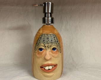 LOTION PUMP large- Wheel thrown, hand altered and sculpted ceramic lotion pump or soap dispenser. A friendly face to brighten up your day.