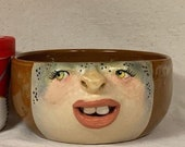 Medium ceramic bowl - Wheel thrown, hand altered & sculpted. Just a friendly face to hold soup, ice cream, cereal, favorite candy.