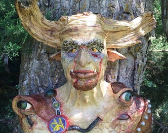 WALL BUST, hand built and sculpted. Zurgha the woodland warrior.