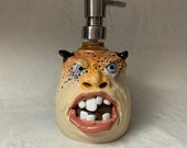 LOTION PUMP - Wheel thrown, hand altered and sculpted ceramic lotion pump or soap dispenser. A friendly face to brighten up your day.