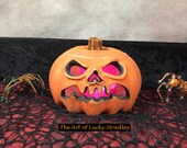 HAUNTED JACK O'LANTERN- Wheel thrown, hand altered and sculpted. Just a friendly fella to help you light up your life.  HJ7