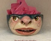 Small ceramic bowl - wheel thrown, hand altered & sculpted. Just a friendly face to enjoy your favorite soup, ice cream or salad.