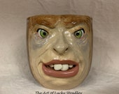 XLARGE CERAMIC MUG, wheel thrown, hand altered and sculpted. Just a friendly face to enjoy your morning beverage with. 24 oz.