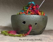 Ready to ship - RAKU REGULAR YARNBOWL- Wheel thrown, hand altered and sculpted. This listing is for the actual bowl pictured.