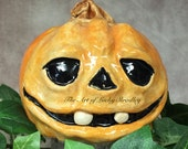 CERAMIC JOL PUMPKIN, wheel thrown, hand altered and sculpted. Just a friendly little pumpkin to help you celebrate the fall season. (CP22)