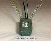 RAKU GLASS/NEEDLEHOLDER, wheel thrown, hand altered. A great place to hold needles, pens, craft supplies or odds and ends.