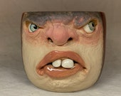 LARGE CERAMIC MUG, wheel thrown, hand altered and sculpted. Just a friendly face to enjoy your morning beverage with.