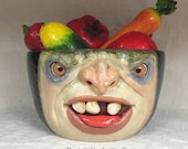 CERAMIC BOWL -XXL- Wheel thrown, hand altered & sculpted. A friendly face to hold large amounts of items. Has blemish.