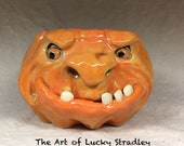 LARGE PUMPKIN MUG, wheel thrown, hand altered and sculpted. Just a friendly face to enjoy your morning beverage with.