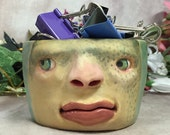 SMALL CERAMIC BOWL -Wheel thrown, hand altered & sculpted. Just a friendly face to hold small items, candles, Q Tip or favorite candy. CBS10