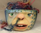 Ready to ship -LARGE YARN BOWL- Wheel thrown, hand altered and sculpted. This listing is for the actual bowl pictured.