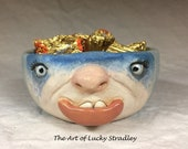 XSMALL CERAMIC BOWL -Wheel thrown, hand altered & sculpted. Just a friendly face to hold small items, candles, Q Tip or favorite candy.
