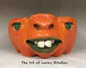 PUMPKIN BOWL -medium-Wheel thrown, hand altered & sculpted. Just a friendly face to hold soup, ice cream, cereal, favorite candy.