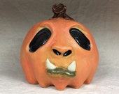 CERAMIC JOL PUMPKIN , wheel thrown, hand altered and sculpted. Just a friendly little pumpkin to help you celebrate the fall season.