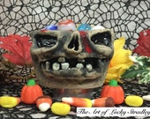 XSMALL CERAMIC BOWL -Wheel thrown, hand altered & sculpted. Just a friendly face to hold small items, candle, Q Tip or favorite candy. CBS5