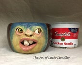 CERAMIC SOUP MUG with handle - Wheel thrown, hand altered & sculpted. Just a friendly face to enjoy your favorite soup, salad or cereal.