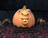 CERAMIC PUMPKIN, wheel thrown, hand altered and sculpted. Just a friendly little pumpkin to help you celebrate the fall season. (CP32)