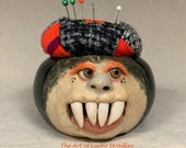 PIN CUSHION - Small ceramic,  wheel thrown, hand altered & sculpted. Just a friendly face to hold your needles and pins for you.