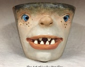 REGULAR CERAMIC BOWL -Wheel thrown, hand altered & sculpted. Just a friendly face to hold soup, ice cream, cereal, favorite candy.