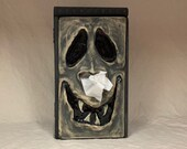 SNUFFLE BOX - Tissue Holder- Hand sculpted tile attached to a wooden box. A great way to cheer up that poor soul with cold or allergies.