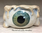 MELTING EYE BOWL -Wheel thrown, hand altered & sculpted. What a cute way to hold small items, candles, Q Tip or favorite candy.