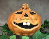 CERAMIC JOL PUMPKIN, wheel thrown, hand altered and sculpted. Just a friendly little pumpkin to help you celebrate the fall season.