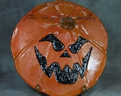 JOL Plate - Wheel thrown, hand altered and sculpted ceramic plate. Just a friendly face to enjoy for Halloween and Thanksgiving season.