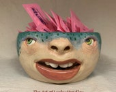 BOWL - Small ceramic,  wheel thrown, hand altered & sculpted. Just a friendly face to hold rings, paper clips, candy, anything small.