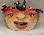 BOWL - Small ceramic,  wheel thrown, hand altered & sculpted. Just a friendly face to enjoy your favorite soup, ice cream or salad.