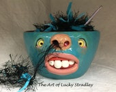 Ready to ship -REGULAR YARN BOWL-  Wheel thrown, hand altered and sculpted. This listing is for the actual bowl pictured.
