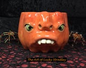 LARGE PUMPKIN MUG, wheel thrown, hand altered and sculpted. Just a friendly face to enjoy your morning beverage with. MUP8