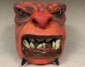 XLARGE CERAMIC MUG, wheel thrown, hand altered and sculpted. Just a friendly face to enjoy your morning beverage with.