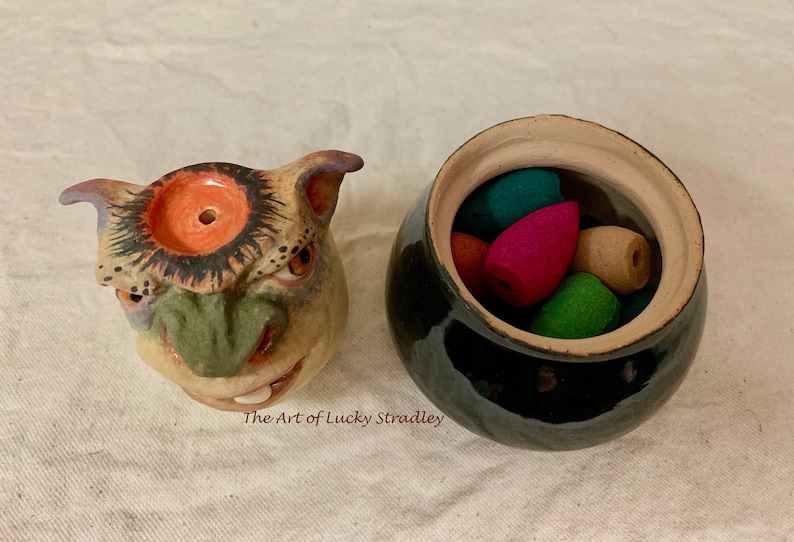Two piece INCENSE BURNER  -Wheel thrown hand altered /& sculpted Burn and store backflow incense cones Smoke comes out ears and nose.