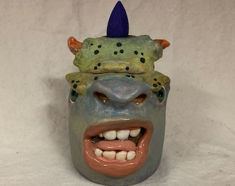 INCENSE BURNER or Trinket Box -Wheel thrown, hand altered & sculpted. Just a friendly fella to burn and store incense cones.