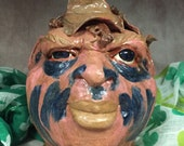 Wheel thrown, hand sculpted Face Jug. Just a friendly face to brighten your day. (FJ6)