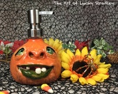 LOTION PUMP - Wheel thrown, hand altered and sculpted ceramic lotion pump or soap dispenser. A friendly face to brighten up your day. LP6