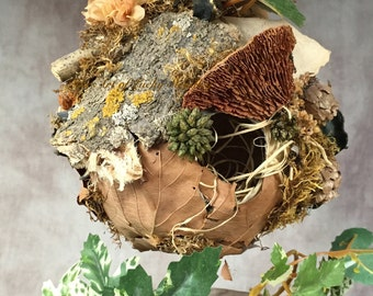 FAIRY NEST - Mixed media, paper mache, feathers, twigs, leaves, moss, flowers & seashells. A welcome addition to any fairy garden.