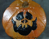 JOL Plate - Wheel thrown, hand altered and sculpted ceramic plate. Just a friendly face to enjoy for Halloween and Thanksgiving season.PJOL5