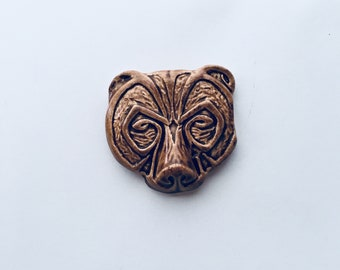Mosaic Supply Ceramic Bear Head Tile Mosaic Idea Craft Supply Ceramic Hand Painted Animal Mosaic Suggestion Viking Totem Celtic Pendant Idea
