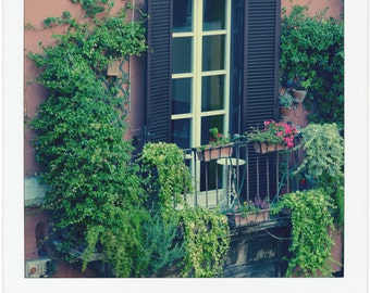 Colorful Flower Garden in Rome with Rustic Brown Shutters - Garden Photography - Travel Prints - Gift for Gardener - Home Decor - Wall Art
