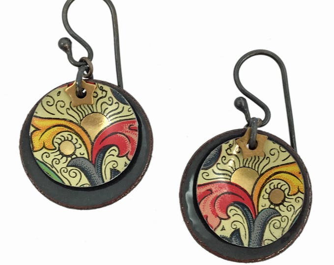 English Tea Tin Earrings - Steel Gray