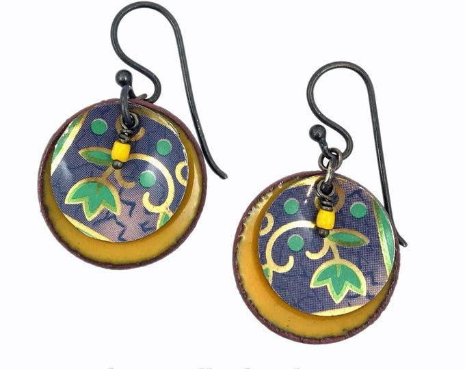 Vintage Tea Tin Earrings - Golden and Violet