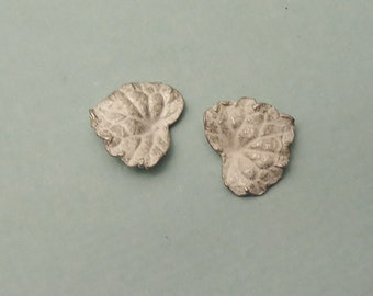 tiny heart shaped leaves sterling silver leaf castings cast raw silver leaves silversmith supplies UL007-2