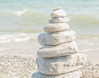 Cairn stacked rocks PRINT ACRYLIC or CANVAS gallery wrap Artwork Bathroom Home Décor Spa aqua blue pastel Beach driftwood Photo Gift for her