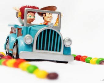 Toy Story PRINT, ACRYLIC or CANVAS Gallery Wrap Woody Jessie Skittles candy road Fine Photo Artwork Kid Children Room Decor Cowboy Cowgirl
