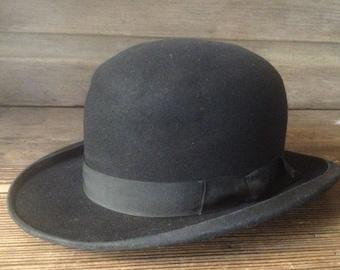 French Black Derby Bowler Hat Felt Grosgrain Ribbon Ladies Small b649b68f96e8